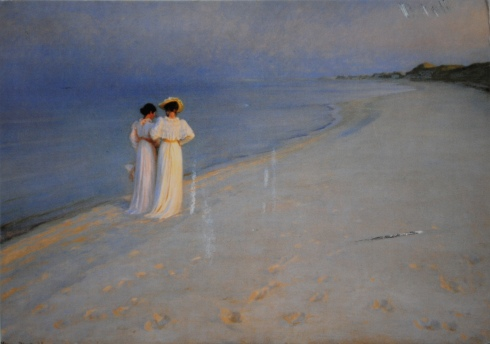 P.S. Krøyer: Summer evening on Skagen's southern beach (Anna Ancher and Marie Krøyer), 1893